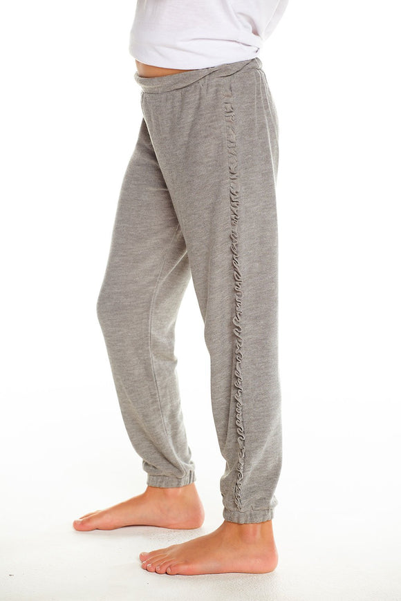 Slouchy Jogger With Ruffle Sides Grey