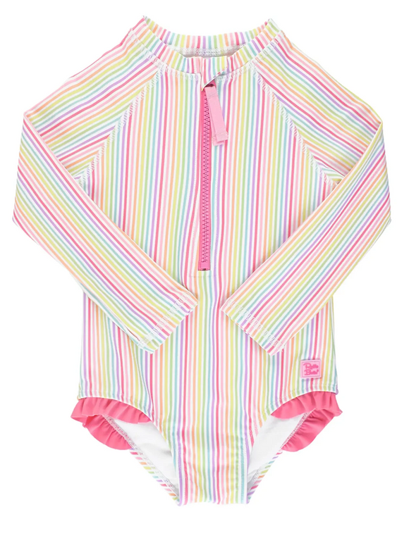 Ruffle Butts Rainbow Long Sleeve One Piece Rash Guard