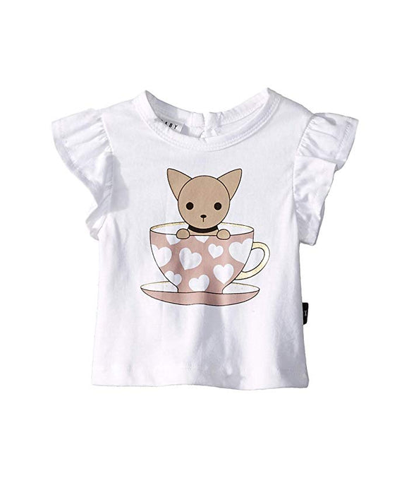 Hux Baby Chihuahua Cup Frill Top - White