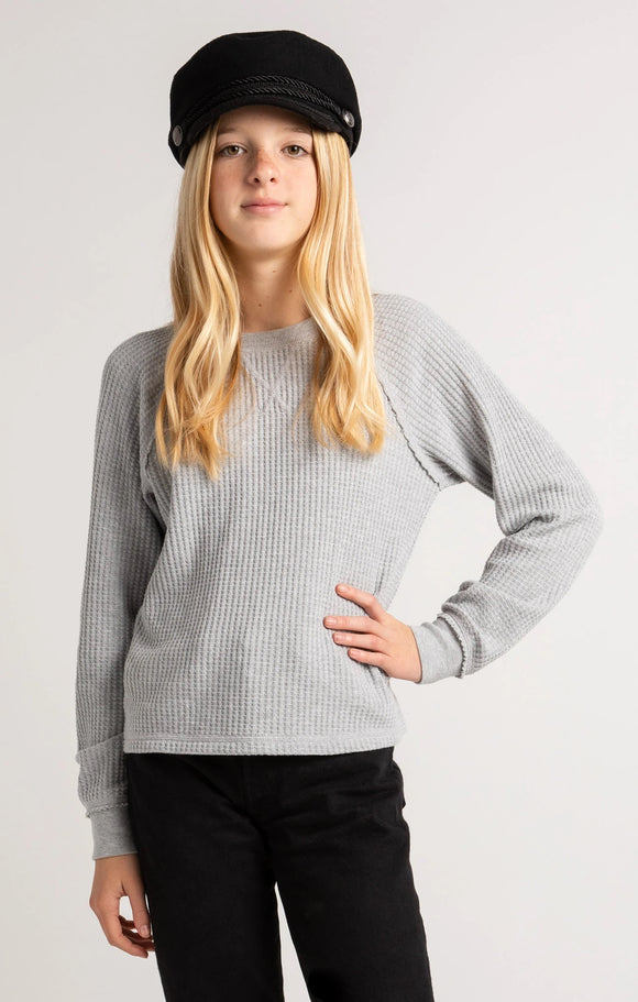 Z Supply Girls Reagan Waffle Long Sleeve- Heather Grey