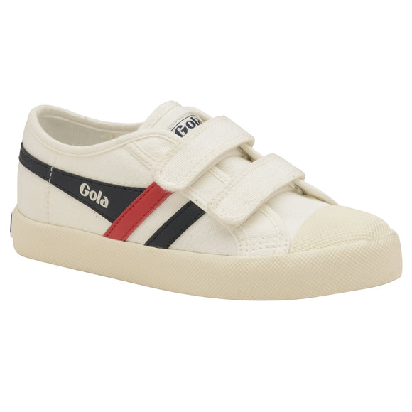 Gola Classics Kids Coaster Velcro Trainer - Off White/Navy/Red