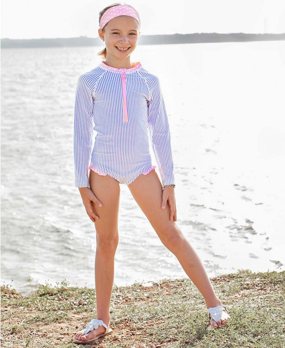 Girls' Periwinkle Blue Seersucker Long Sleeve One Piece Rash Guard