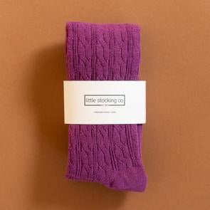 LIttle Stocking Co. Cable Knit Tights - Willowherb Purple