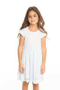 Chaser Baby Rib Flutter Sleeve Tiered Dress Light Blue