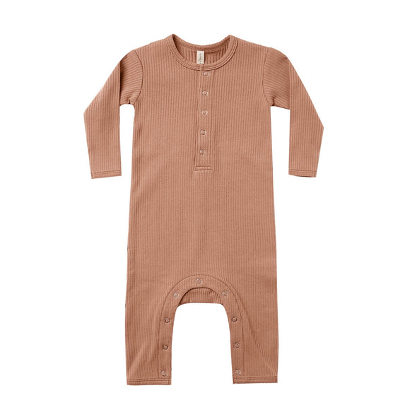 Quincy Mae Ribbed Baby Jumpsuit - Terracota