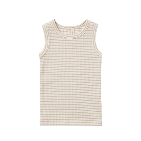 Quincy Mae Ribbed Tank - Ash Stipe