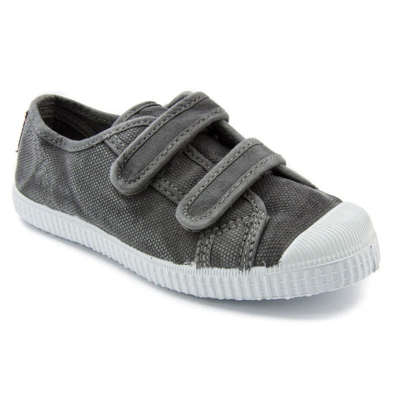 Cienta 2 Strap Velcro - washed grey canvas