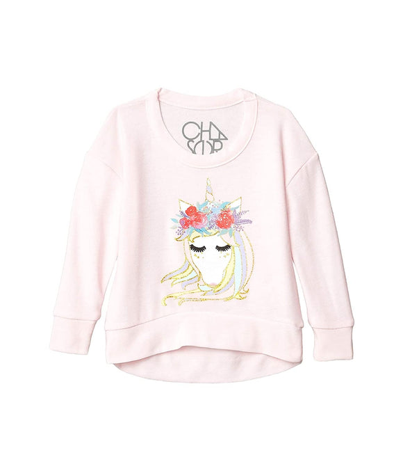 Girls Cozy Knit Boxy Pullover- Pinky