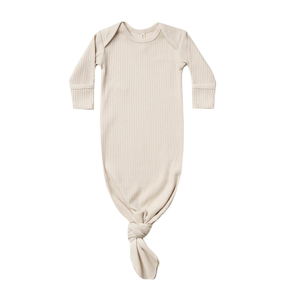 Quincy Mae Knotted Baby Gown - Natural