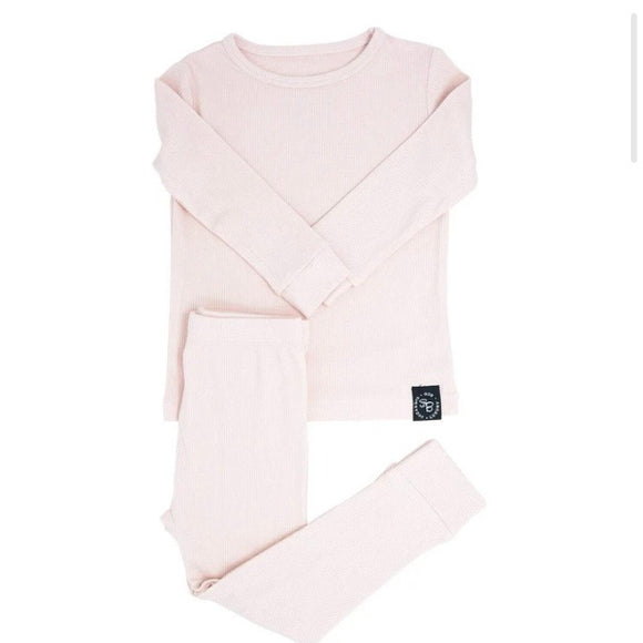 Sweet Bamboo Ribbed PJ's - Pink Blush