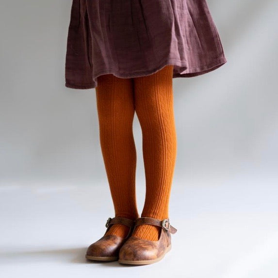 LIttle Stocking Co. Cable Knit Tights - Pumpkin Spice