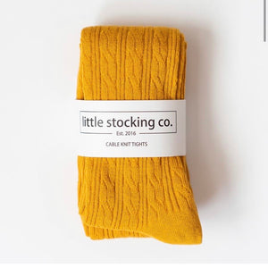 LIttle Stocking Co. Cable Knit Tights - Marigold Yellow