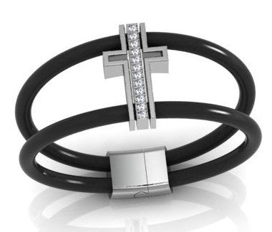 Bracelet Double Wrap Leather Black
