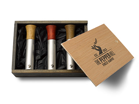 3er-Set Peppermill, klein in edler Holzkiste – Limited Edition