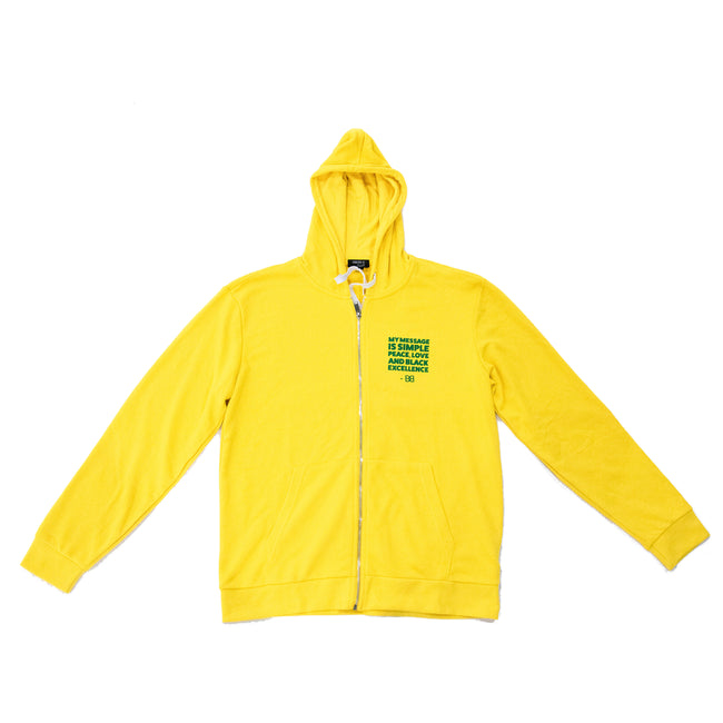 Yellow BB Quote Zip Hoodie