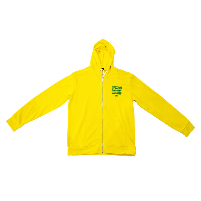 "Yellow BB Quote Zip Hoodie ""EVERY MAN IS CREATED EQUALLY"" Quote"