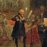 Adolph von Menzel - Concert for flute with Frederick the Great in Sanssouci Replica Canvas Wall Art