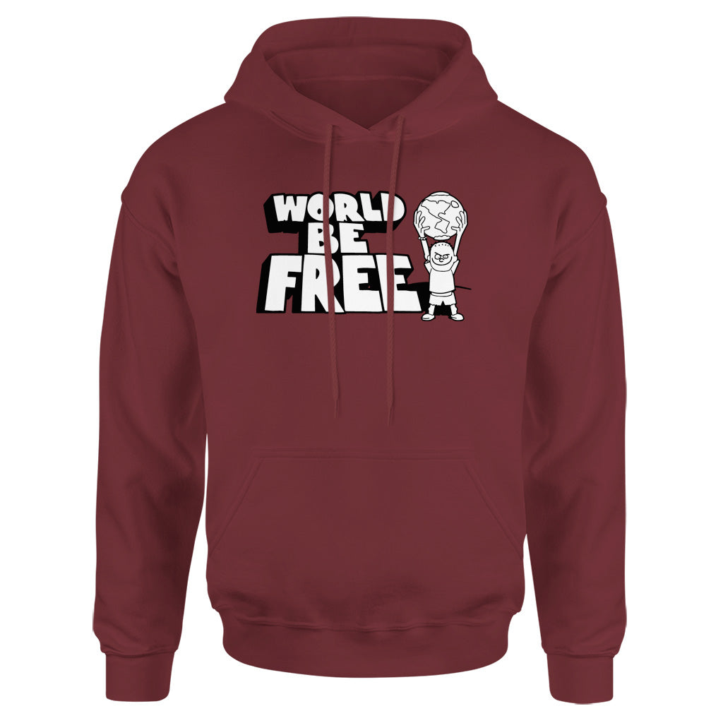 "REVHS162 World Be Free ""Logo (Maroon)"" - Hooded Sweatshirt Front"
