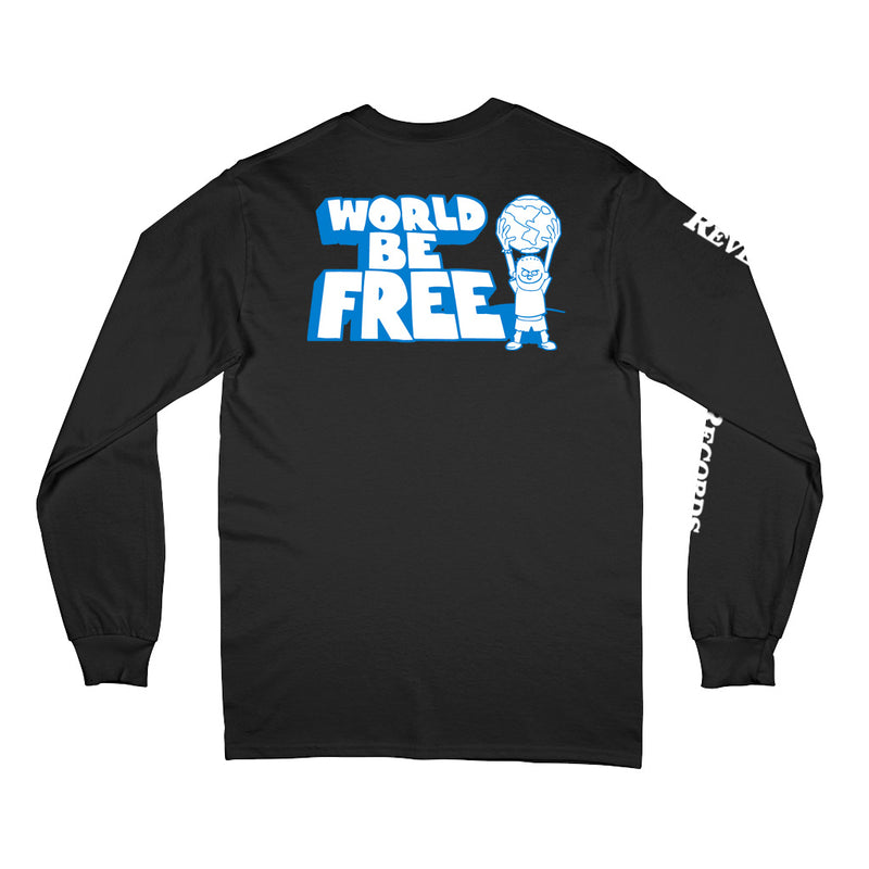 "REVLS162 World Be Free ""Logo (Black)"" - Long Sleeve T-Shirt Front"