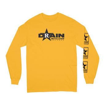 "REVLS982AS Drain ""Rev Logo (Yellow)"" - Long Sleeve Front"