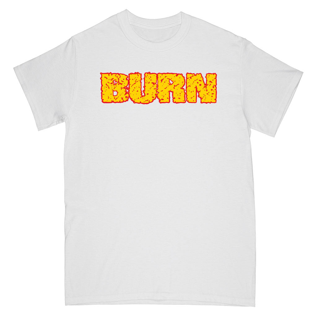 "Burn ""Shall Be Judged (White)"" - T-Shirt Front"