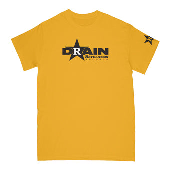 "REVSS982AS Drain ""Rev Logo (Yellow)"" - T-Shirt Front"
