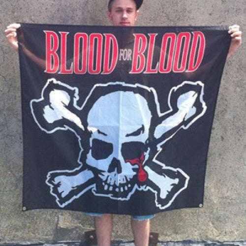 "B9RBAN002 Blood For Blood ""Skull"" -  Banner"