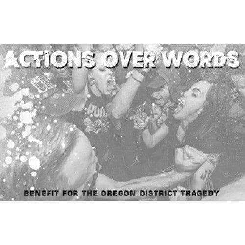 "NA082-4 V/A ""Actions Over Words: Benefit For The Oregon District Tragedy"" Cassette Album Artwork"