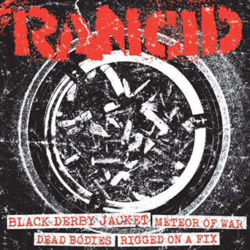"PIR065GH-1 Rancid ""Black Derby Jacket + Meteor Of War/Dead Bodies + Rigged On A Fix"" 7"" Album Artwork"