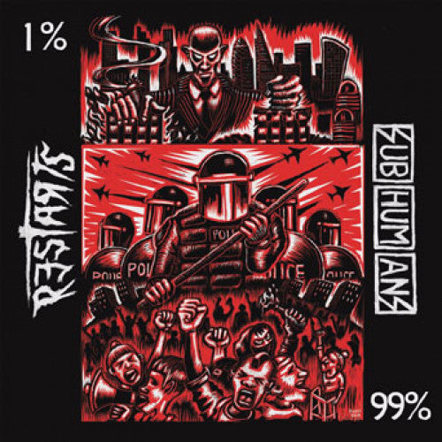 "PIR251-1 The Restarts / Subhumans ""Split"" 7"" Album Artwork"