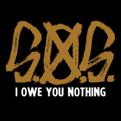 "REAP044-1 S.O.S. ""I Owe You Nothing"" 7""  Album Artwork"