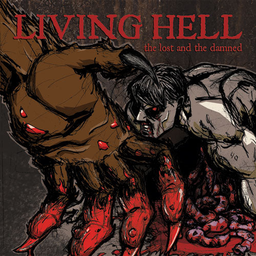 "REV145-2 Living Hell ""The Lost And The Damned"" LP/CD Album Artwork"