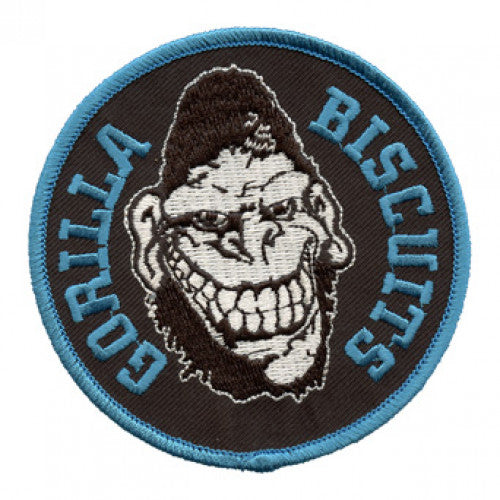 "REVPAT04A Gorilla Biscuits ""Gorilla"" -  Embroidered Patch (Black, Blue, And White)"