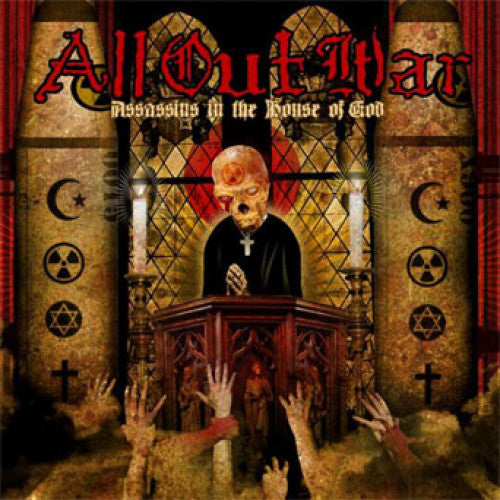 "VIC343-1 All Out War ""Assassins In The House Of God"" LP Album Artwork"