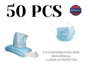 Qty 50-3 Ply Disposable Face Mask (Non-Medical)