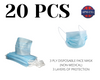 Qty 20-3 Ply Disposable Face Mask (Non-Medical)