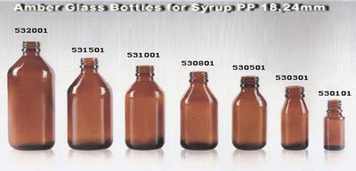 Amber Glass for Syrup Pp18,24mm - Pharmaceutical Glass Bottle