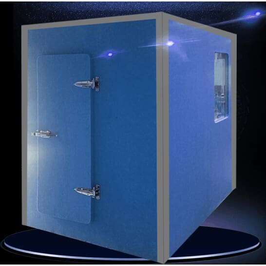 Noise isolation rooms with insulating glass windows and doors