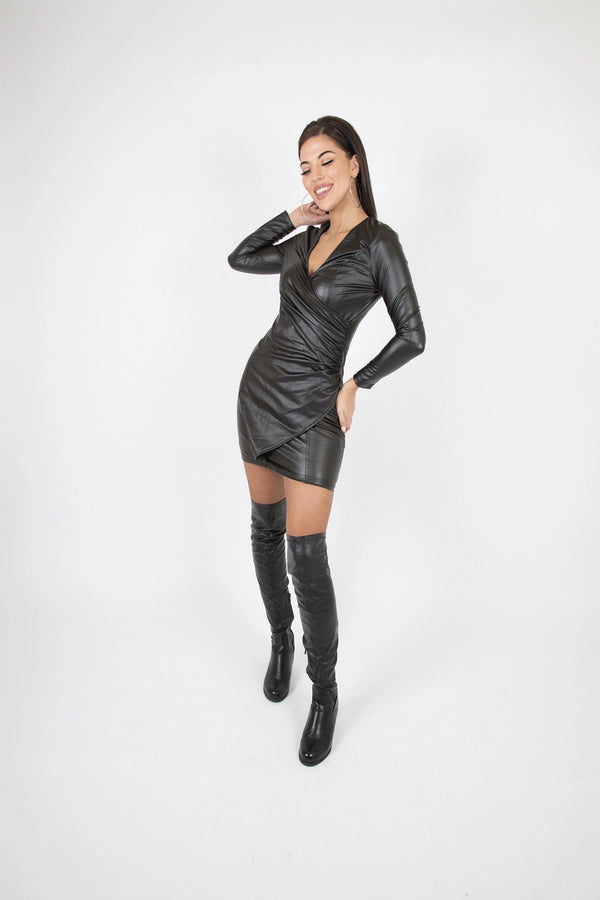 Wrapover V Neck Long Sleeve Bodycon Mini Dress