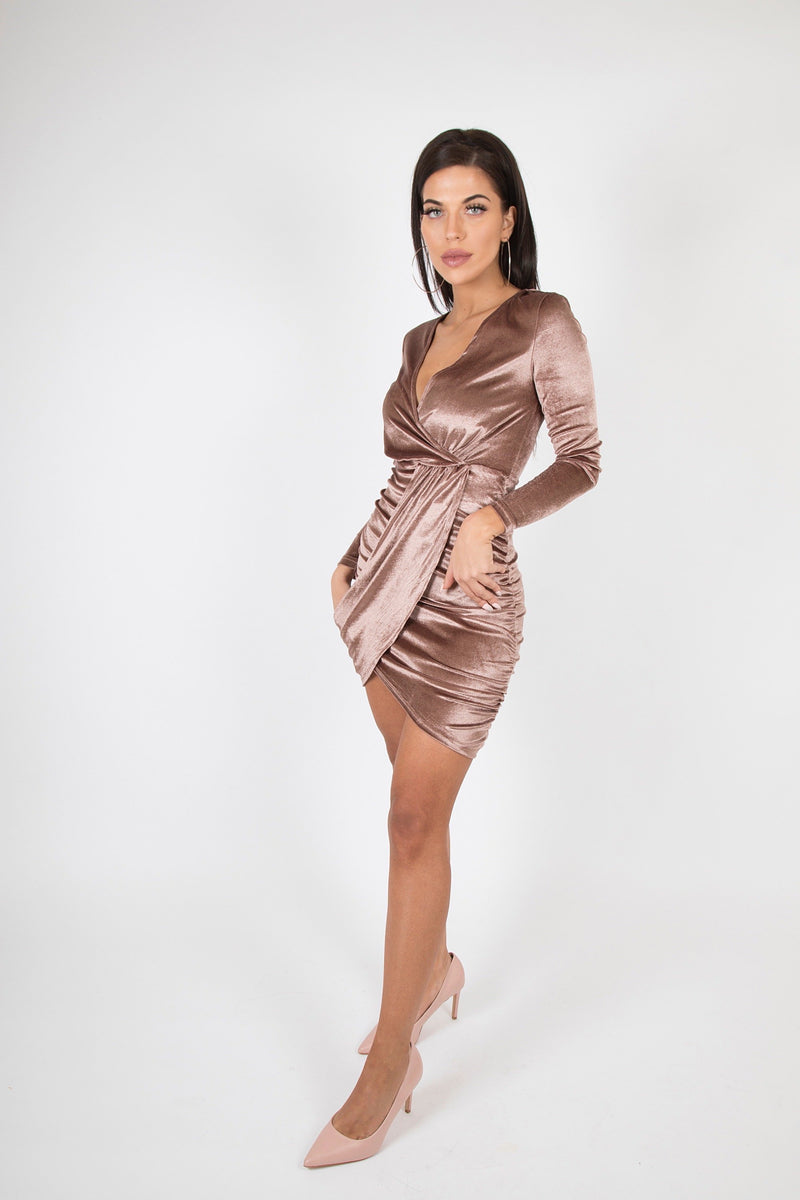 Velvet Side Ruched Wrap Front Long Sleeve Bodycon Mini Dress