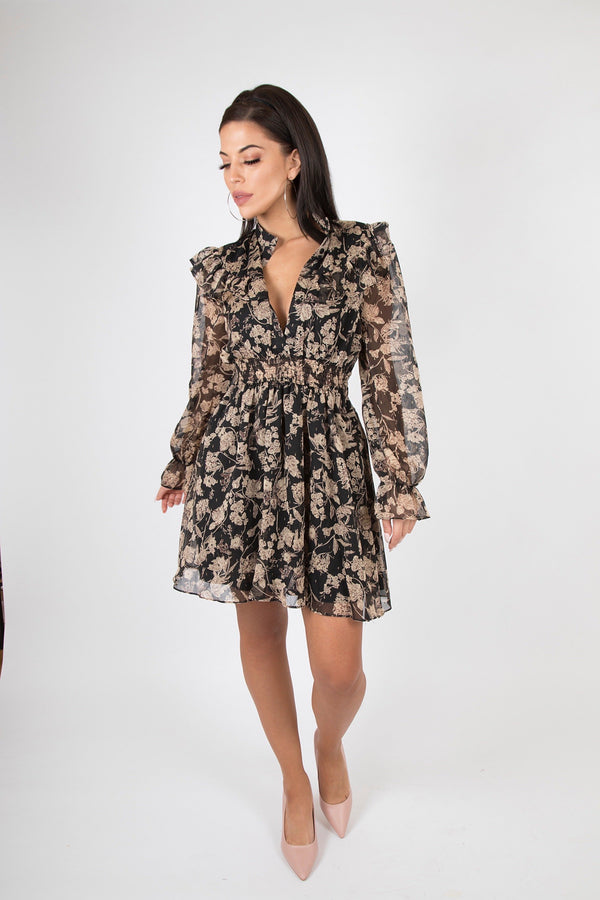 Floral Chiffon Mock Neck Tier Hem Dress