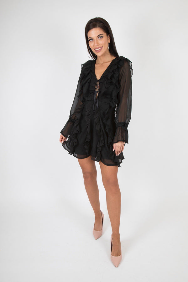 Multi Ruffle lace Up Front Long Sleeve Mini Dress