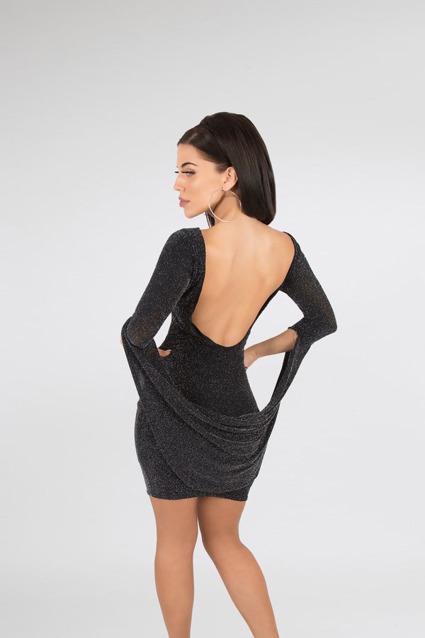 Open Back Shimmer Black Dress