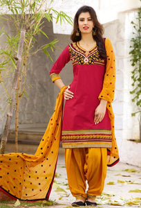 Dashing Red And Yellow Color Salwar Suit
