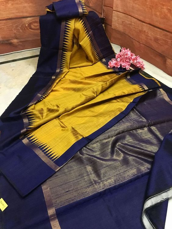 Awesome musterd and nevy blue Color Designer Silk Saree