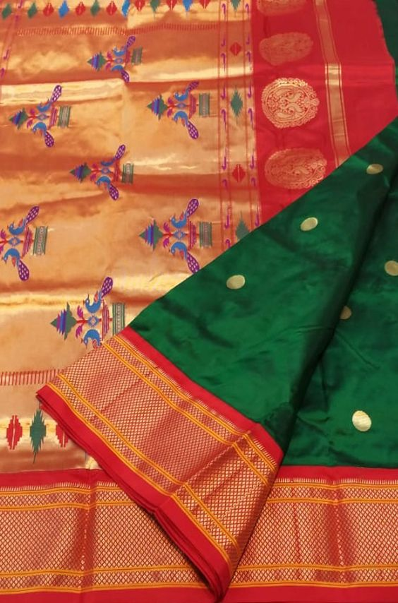 Pretty Green And Red Color Designer Silk  Saree