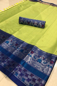 Fancy Parrot and Blue Color Designer Saree