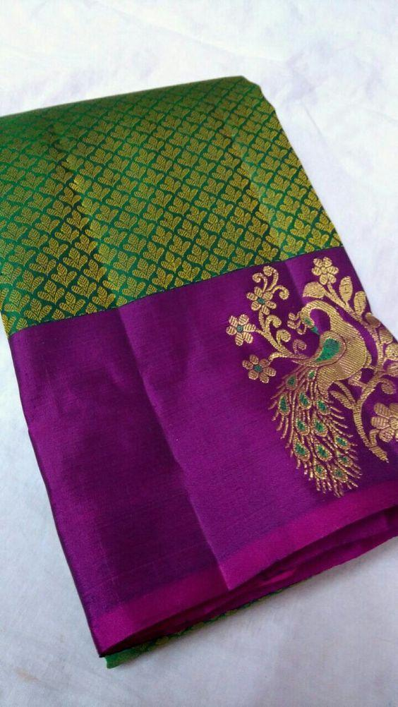 Adhesive Dark Green Color Designer Saree
