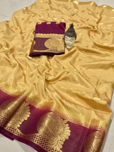 Attractive Golden Color Kanjivarm Designer Saree