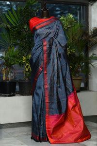 New Latest Grey Color Kanjivarm Designer Saree